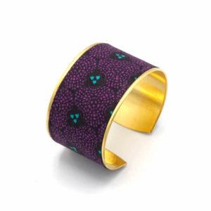 bracelet manchette laiton doré violet mauve bleu turquoise