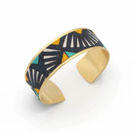 bracelet manchette coton graphique jaune bleu gris