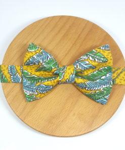 noeud papillon jungle feuilles vert, bleu et jaune