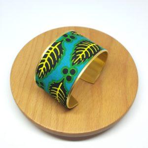 bracelet manchette wax vert, bleu et jaune