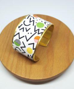 Bracelet manchette laiton doré et coton années 80 blanc et noir