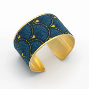 bracelet manchette laiton tissu éventails bleu jaune