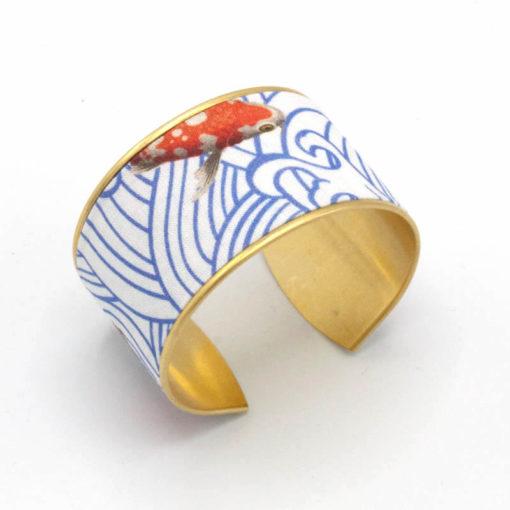 bracelet manchette laiton coton poisson rouge japonais eau bleu blanc