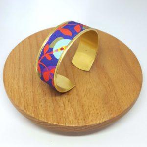 bracelet manchette feuilles violet, rose et rouge