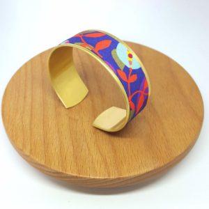 bracelet manchette mexicain fleurs rouge, rose, violet et bleu