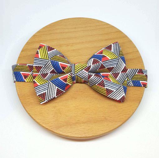 noeud papillon coton triangles bleu, rouge et jaune