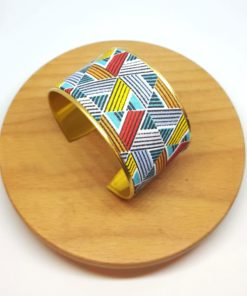 bracelet manchette coton et laiton doré bleu jaune et rouge