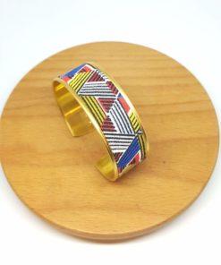 bracelet manchette laiton doré coton triangles rouge, jaune et bleu