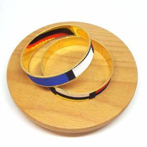 bracelet manchette laiton doré coton mondrian bleu rouge jaune blanc noir