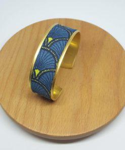 manchette bracelet laiton doré coton éventail bleu
