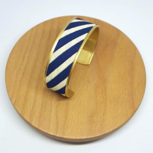 bracelet manchette rayures bleu blanc rouge wax pagne