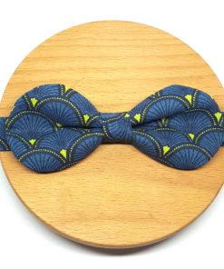 noeud papillon éventail bleu et jaune