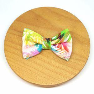 pince à noeud barrette feuilles rose bleu vert jaune