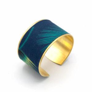 bracelet manchette jungle feuilles vert bleu jaune