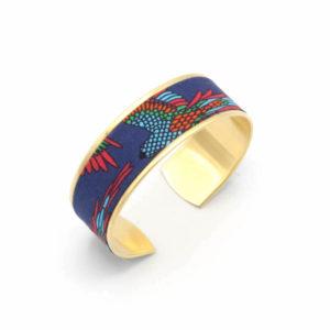 bracelet manchette tissu mexicain oiseaux bleu rouge vert
