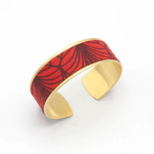 bracelet manchette tissu feuille rouge