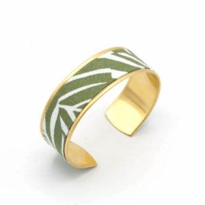 bracelet manchette tissu laiton doré feuilles vegetal vert blanc