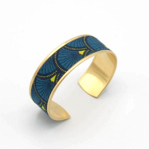 bracelet manchette tissu éventail japonais bleu jaune