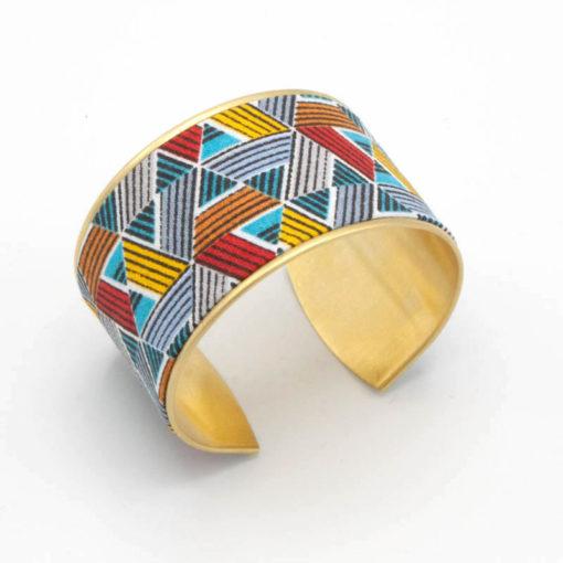 bracelet manchette laiton tissu triangles géométrique bleu rouge orange gris jaune