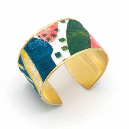 bracelet manchette laiton coton aquarelle fleurs bleu vert rose blanc