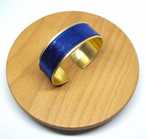 bracelet manchette laiton doré lamé bleu brillant