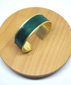 bracelet manchette doré lamé vert