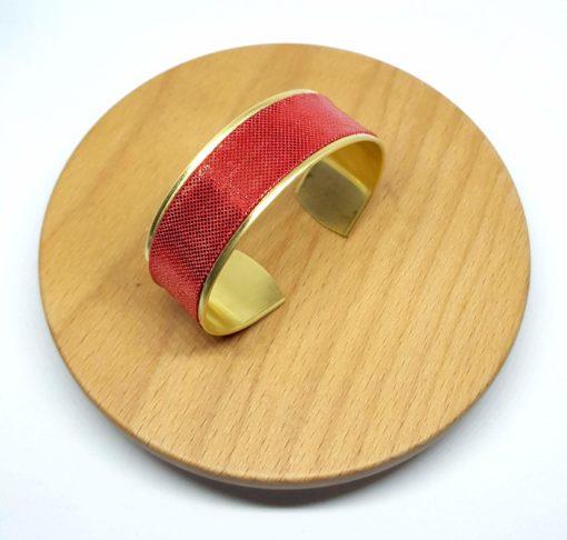 bracelet manchette laiton doré lamé brillant rouge