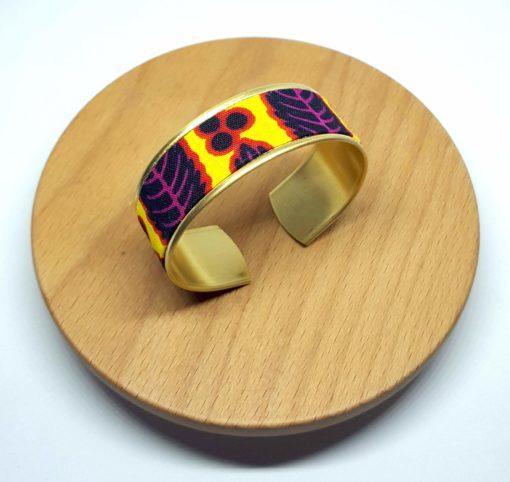 bracelet manchette laiton doré wax feuilles jaune rose noir