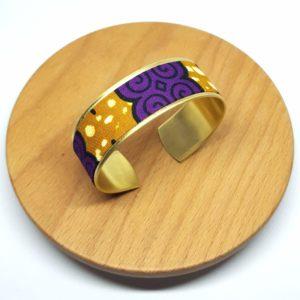 bracelet manchette laiton doré wax pagne violet marron fleur