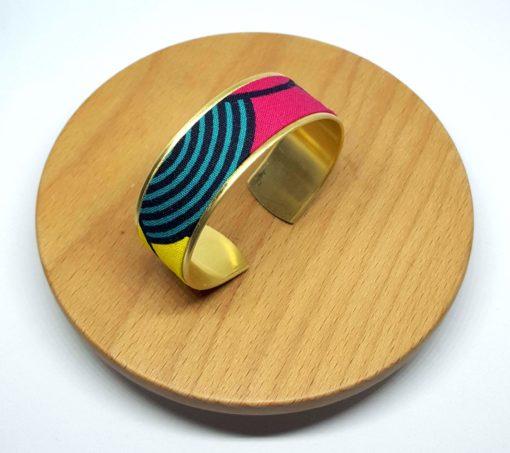 bracelet manchette laiton doré wax bleu vert rose jaune
