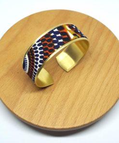 bracelet manchette laiton doré wax pagne orange marron noir