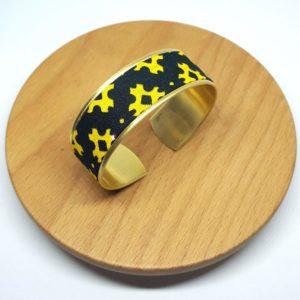 Bracelet manchette laiton doré wax vert jaune