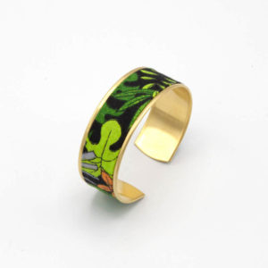 bracelet manchette jungle feuilles vert noir orange