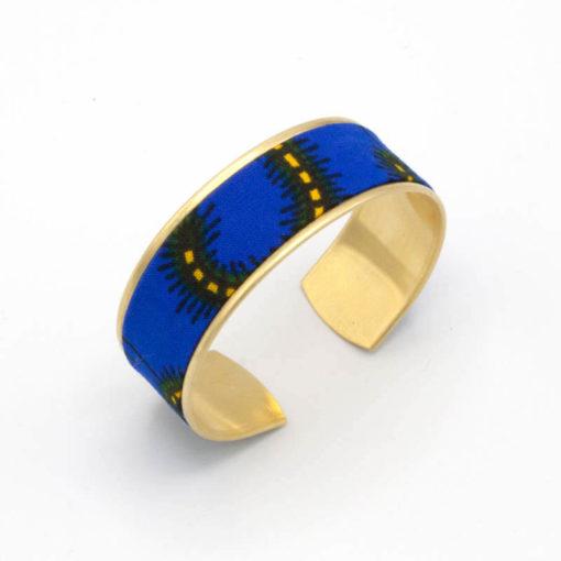 bracelet manchette tissu wax bleu jaune