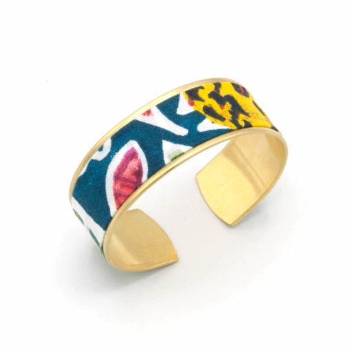bracelet manchette tissu aquarelle rose bleu jaune
