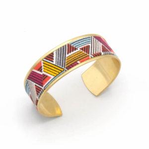bracelet manchette triangles rose rouge jaune graphique