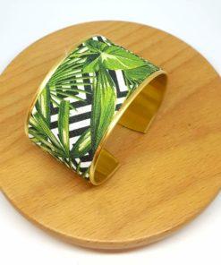 bracelet manchette doré coton graphique feuilles végétal noir blanc vert
