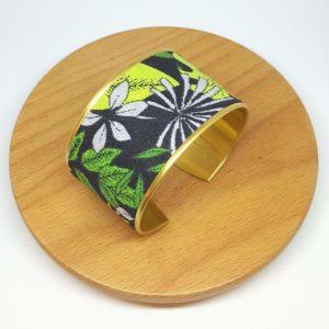 bracelet manchette jungle feuilles fleurs noir vert gris rose
