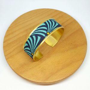 bracelet manchette laiton coton doré bleu noir art deco éventails