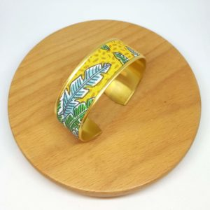 bracelet manchette laiton coton feuilles jungle jaune vert