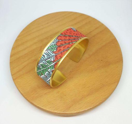 bracelet manchette doré laiton coton jungle feuilles bananier rouge vert jaune