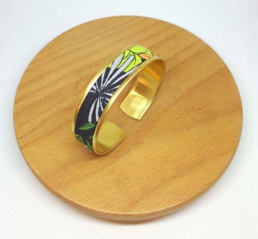 bracelet laiton manchette coton imprimé végétal jungle vert noir gris