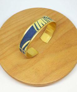 bracelet manchette jungle feuilles animaux végétal bleu vert jaune