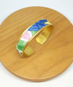 bracelet manchette laiton coton rose bleu vert jungle animaux fleurs