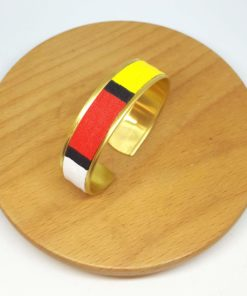 bracelet manchette laiton doré mondrian jaune rouge bleu noir