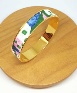 bracelet jonc doré coton aquarelle rose bleu vert feuilles animaux