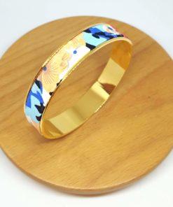 bracelet jonc doré coton kenzo fleurs noir bleu rose