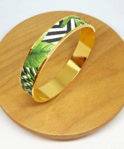 bracelet jonc graphique feuilles végétal vert noir blanc