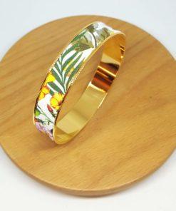 bracelet jonc doré coton jungle feuilles fleurs vert jaune rose