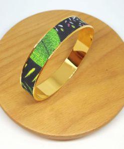 bracelet jonc doré coton jungle fleurs feuilles vert jaune